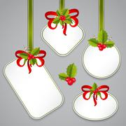 merry christmas and happy new year tags - stock illustration