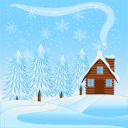 Beautiful  winter landscape with a wooden house and snow-bound trees Stock Illustration