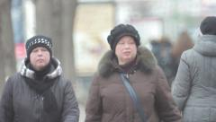 Novosibirsk city. Russian people are on the street Stock Footage