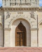 door of chateau cos d'estournel saint-estephe - stock photo