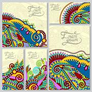 Stock Illustration of collection of decorative floral greeting cards in vintage style,