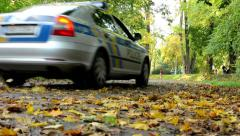 Police car - Fallen leaves on road - Autumn park (forest - trees) - people Stock Footage
