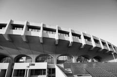 black and white tone of yoyogi national gymnasium - stock photo