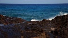 Powerful Shot Waves On The Rocks Stock Footage