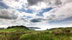 Stock Video Footage of Scotland Hilltop Timelapse Looking down to Sea Water