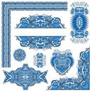 set of paisley floral design elements for page decoration, frame - stock illustration