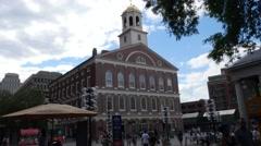 4K Historic Fanueil Hall Boston Stock Footage
