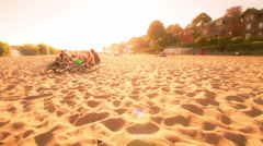 City elbe beach in afternoon - Hamburg august 2012 DSLR dolly shot timelapse Stock Footage