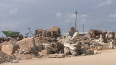 Demolished houses in the Gaza Strip's buffer zone_02 Stock Footage