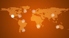 Stock Video Footage of Global connections theme in orange