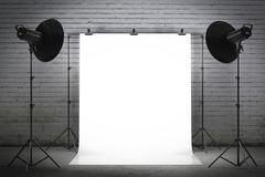Professional strobe lights illuminating a backdrop - stock illustration
