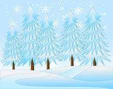 Winter landscape with snow-bound trees,  vector  illustration Stock Illustration