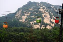 The cable way to Song Mountain Stock Photos