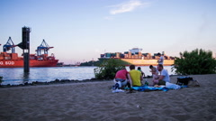 Hamburg elbe beach and rotating container ship - DSLR dolly shot time lapse Stock Footage