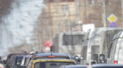 Novosibirsk city. cars go, sunny. congestion Stock Footage