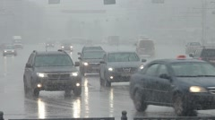 Novosibirsk city. Cars on the road. Rain Stock Footage