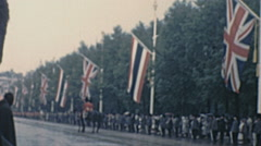 London 1960: crowd before official state visit Thailand King Stock Footage