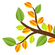 branch with autumn leaves on a white background - stock illustration