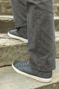 view of  leather shoes on stairs. - stock photo