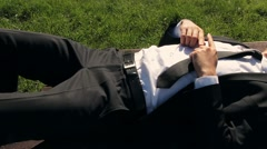 Content Businessman Relaxation Anti-Stress Concept  Stock Footage