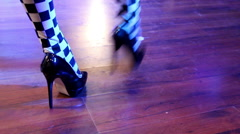 Feet of Go-Go dancers girls at the disco Stock Footage