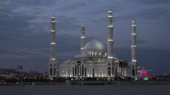 Kazakhstan, Astana, Hazrat Sultan Mosque Stock Footage