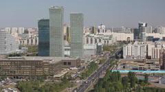Kazakhstan, Astana, city centre skyline - stock footage