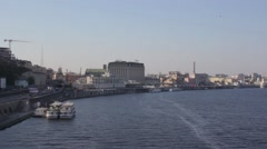 The ships are near the river jetty in Kiev. The autumn. Stock Footage