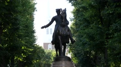 Paul Revere Statue Boston At The Paul Revere Mall Stock Footage