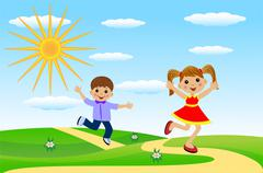 merry girl and boy hurry on a path - stock illustration