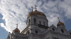 Orthodox Church of timelaps the sky clouds Stock Footage