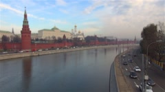 The Moscow Kremlin embankment flow machines timelaps tilt shift - stock footage