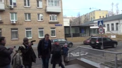 Opposition leader Alexei Navalny arrived at the court Stock Footage