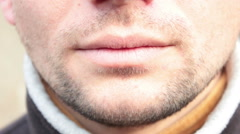Lips Of A Young Man Stock Footage