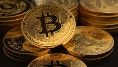 Bitcoins dolly slow 30P Stock Footage