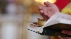 Wine for wedding in church Stock Footage