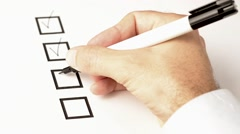Hand marking option on checklist. Stock Footage