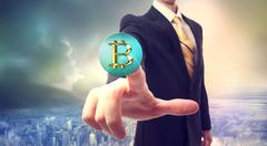 Bitcoin currency with businessman Stock Illustration
