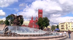 MINSK, BELARUS - August 2014. Independence square in Minsk - stock footage