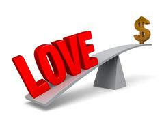 love outweighs money - stock illustration