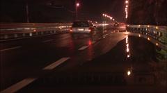 POV European Italian highway driving at Night time. p.o.v. Arkistovideo