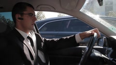 Nervous Businessman in a Traffic Congestion Road Frustration Concept Stock Footage