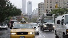 Cars Taxi Cab Driving Manhattan New York City NYC Slow Motion 4K Freedom Tower Stock Footage