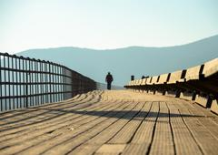 Greece, Attica Periphery, Porto Rafti, Person walking through wooden footbridge - stock photo
