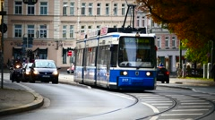 Tram Street Car turning curve in German city Germany Stock Footage