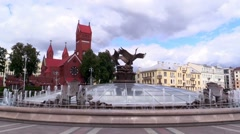 MINSK, BELARUS - August 2014. Independence square in Minsk Stock Footage