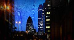 UK, London, Cityscape with Gherkin at dusk Stock Photos
