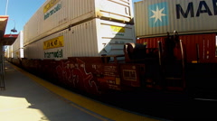 Close Up Cars On Freight Trains Going In Opposite Directions Stock Footage