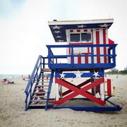 Stock Photo of Stars and stripes on lifeguard hut