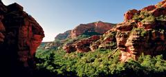 USA, Arizona, Yavapai County, near Sedona, Fay Canyon in the morning seen from - stock photo